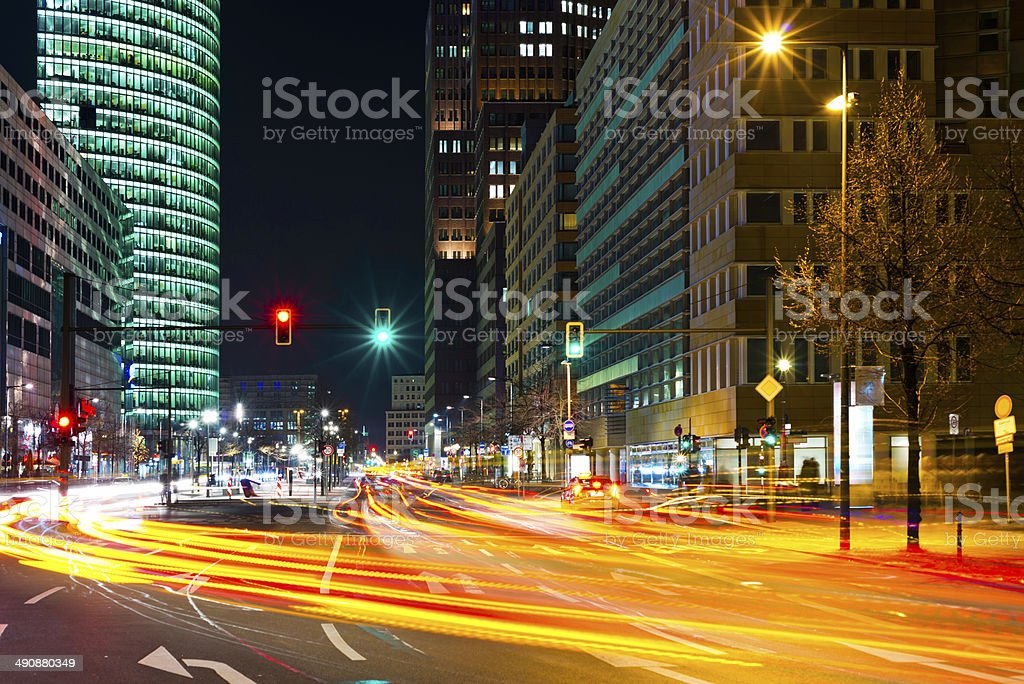 Berlin city lights stock photo