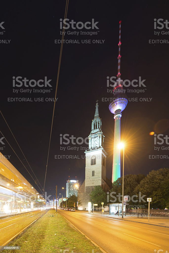 Berlin City Sights with Tram in Motion royalty-free stock photo
