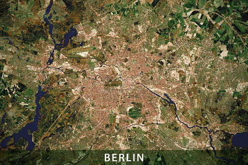 Berlin City Topographic Map Natural Color