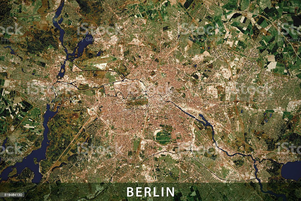 Berlin City Topographic Map Natural Color stock photo