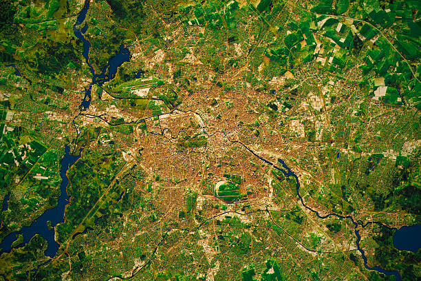 Berlin Stadt Topografische Karten Karte natürliche Farbe – Foto