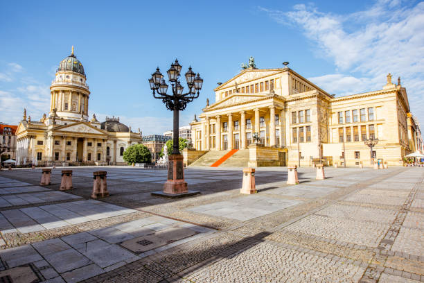 Berlin city view Viiew on the Gendarmenmarkt square with concert house building and German cathedral during the morning light in Berlin city gendarmenmarkt stock pictures, royalty-free photos & images
