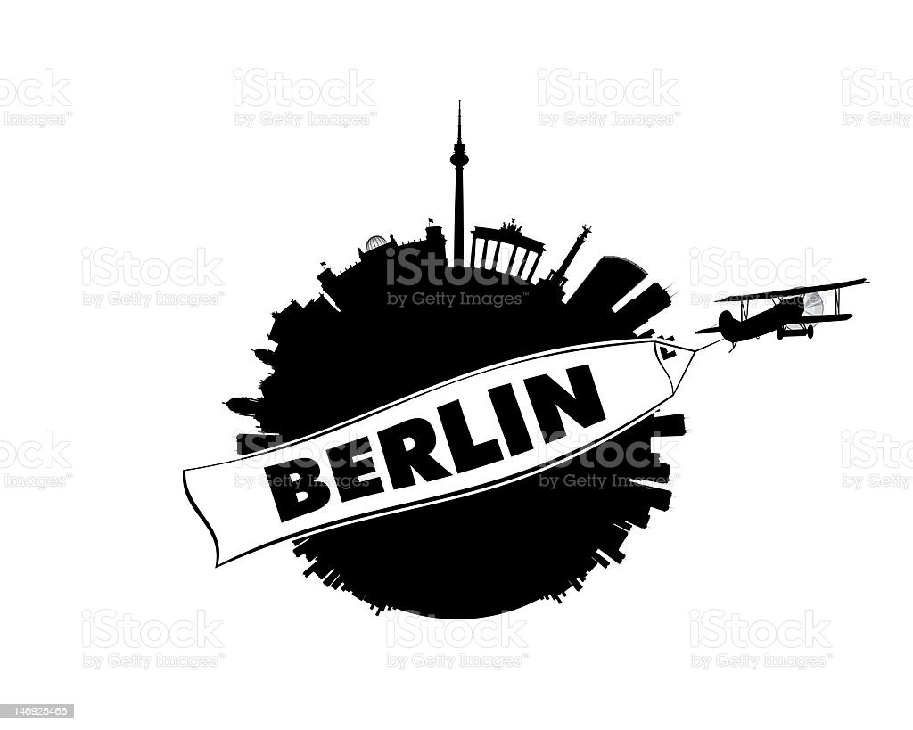 Berlin City with Airplane and Banner stock photo