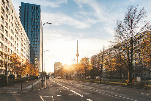 berlin cityscape in golden autumn afternoon sun