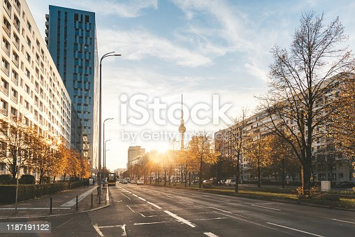 street view on berlin cityscape in autumn sun in with TV-Tower
