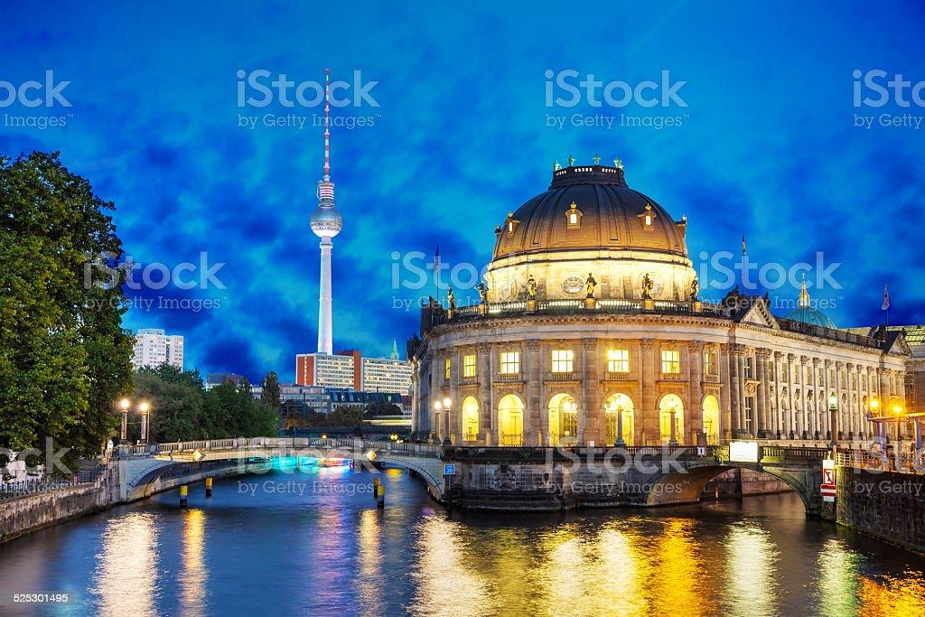 Berlin cityscape in the night stock photo