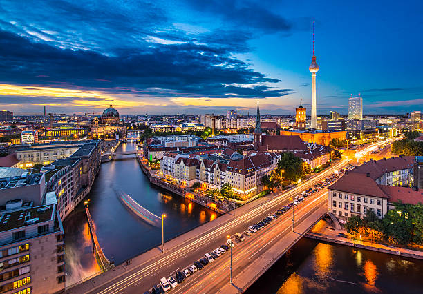 Berlin Cityscape Berlin, Germany viewed from above the Spree River. 2013 stock pictures, royalty-free photos & images