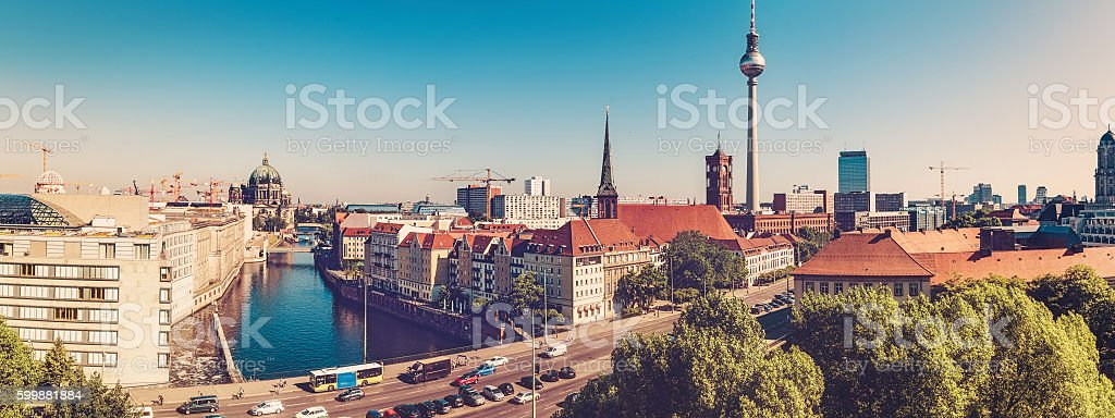 berlin cityscape with television tower at sunny day stock photo