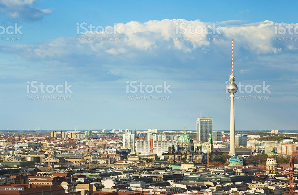 Berlin cityscape with TV tower on Alexanderplatz. royalty-free stock photo
