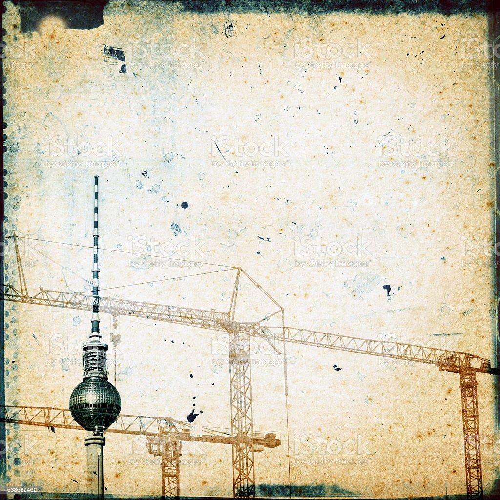 Berlin Collage mit Fernsehturm-Grunge-Stil – Foto