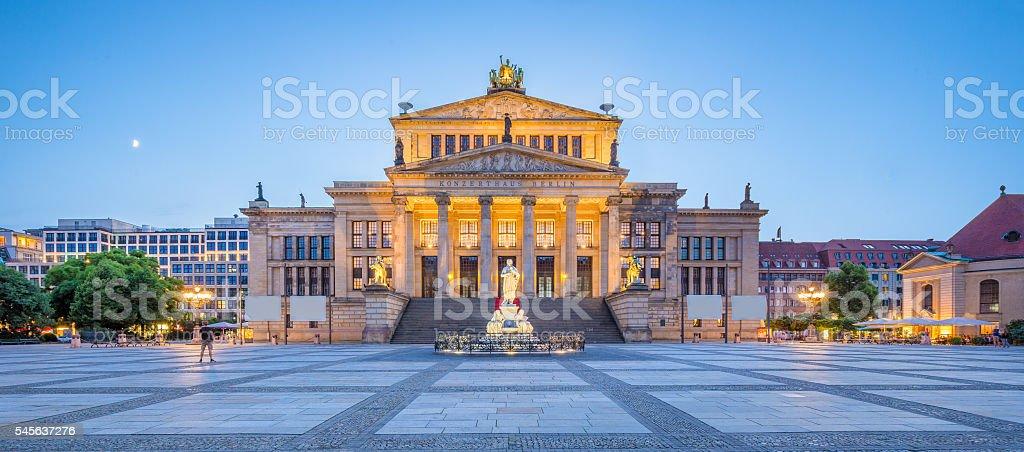 Berlin Concert Hall at Gendarmenmarkt square panorama at dusk, Berlin stock photo