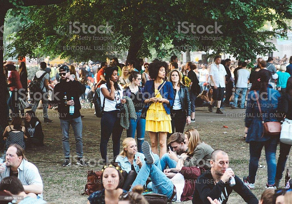 Berlin festival crowd stock photo