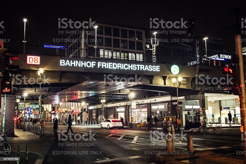 Berlin Friedrichstrasse railway station at night stock photo
