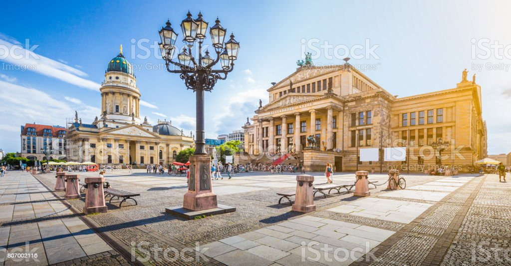 Berlin Gendarmenmarkt square at sunset, central Berlin Mitte district, Germany stock photo