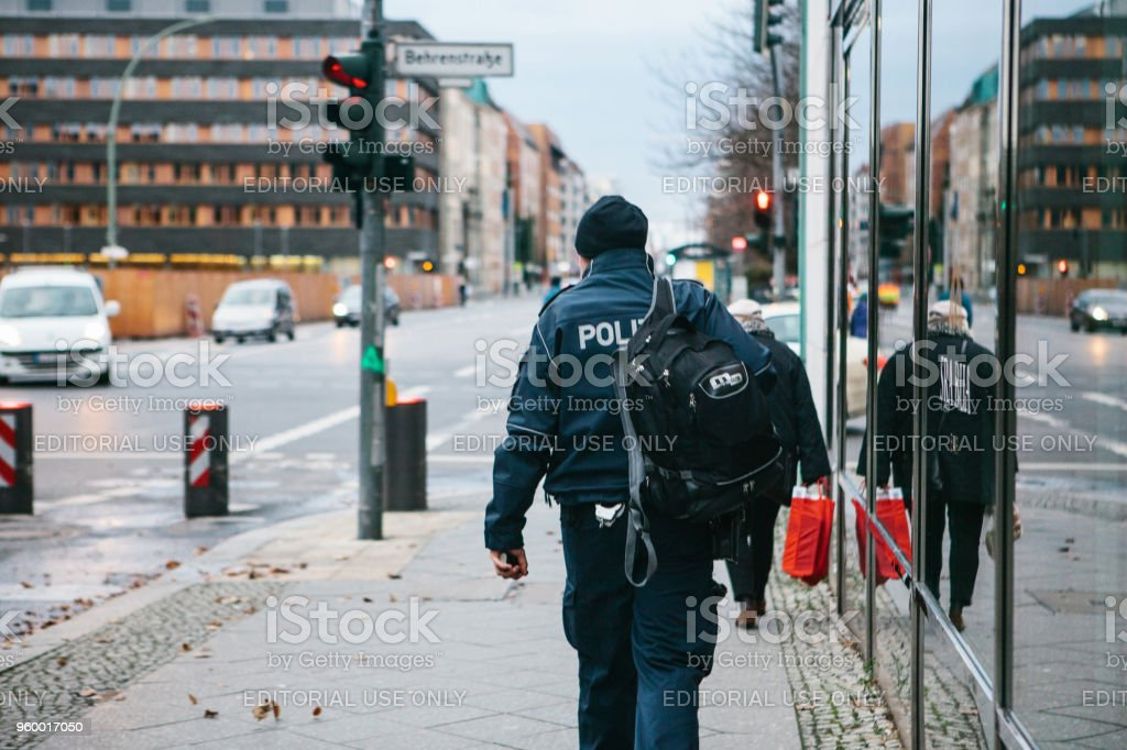Berlin, Germany 15 February 2018: The policeman returns home after work stock photo