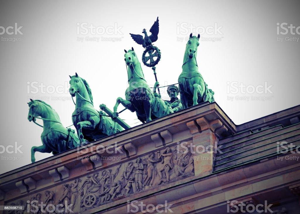 Berlin Germany Ancient Brandenburg Door with the quadriga symbol stock photo