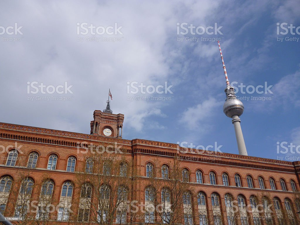 Berlin Germany city hall and TV tower royalty-free stock photo
