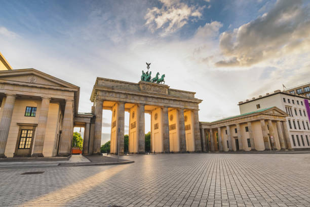 Berlin Germany, city skyline sunset at Brandenburg Gate (Brandenburger Tor) empty nobody