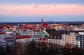 Berlin, Germany - January 17, 2019 -  View on Berlin from the Bunkerberg in Volksrepublik Park.