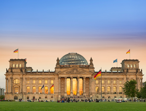 Berlin Germany Reichstag at sunset