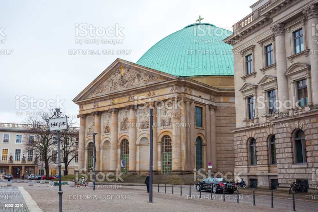 19.01.2018 Berlin, Germany - St. Hedwig's Cathedral on the Bebelplatz - the seat of the Archbishop of Berlin stock photo