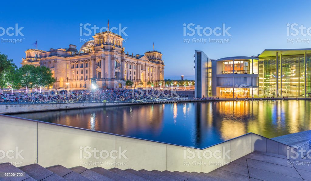 Berlin government district with Reichstag and Spree river in twilight, central Berlin Mitte, Germany stock photo