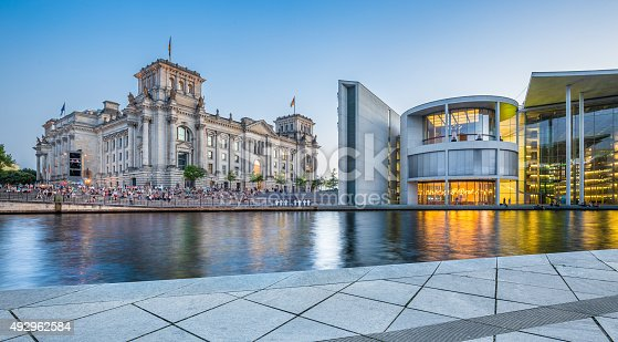 istock Berlin government district with Reichstag building at dusk 492962584