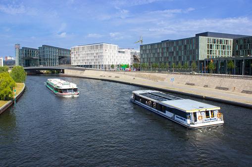 Berlin Hauptbahnhof with passenger ships