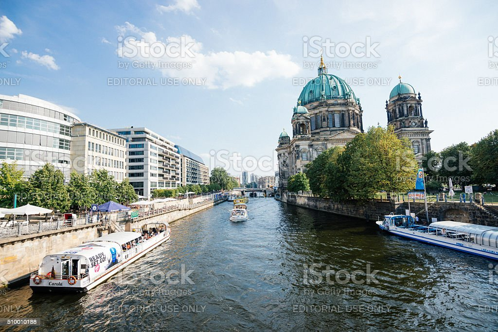 Berlin in summer, view over Spree river and sightseeing boats stock photo