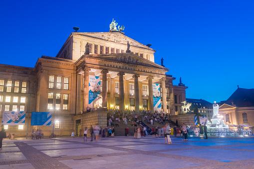 Berlin Konzerthaus at Gendarmenmarkt at night.