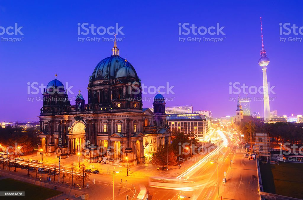 Berlin Landmarks at Night royalty-free stock photo