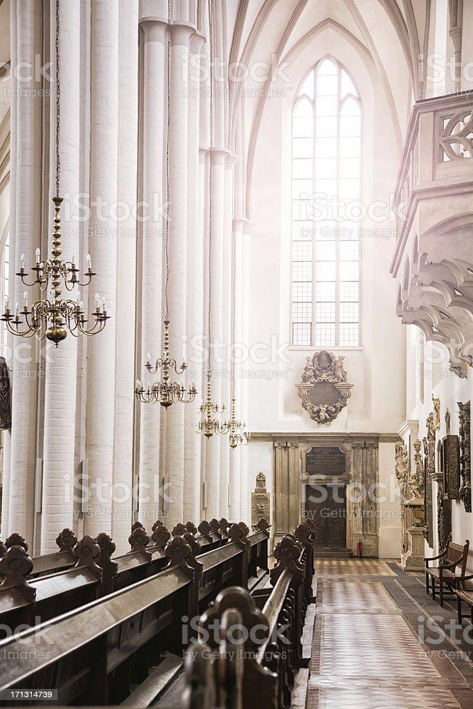 Berlin Marienkirche aisle with sun shining through window royalty-free stock photo