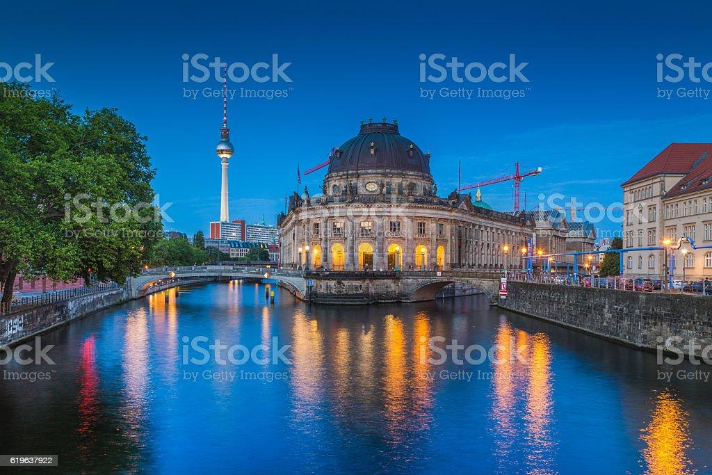 Berlin Museum Island with TV tower in twilight, Berlin, Germany stock photo