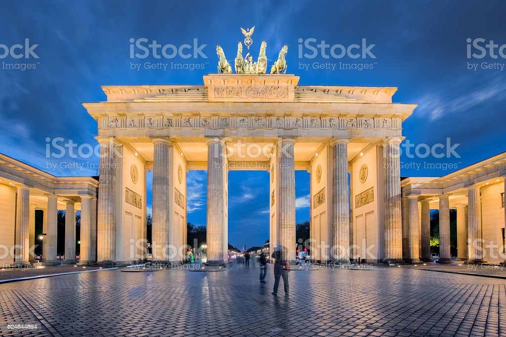 Berlin night, the Brandenburg Gate in Berlin, Germany stock photo