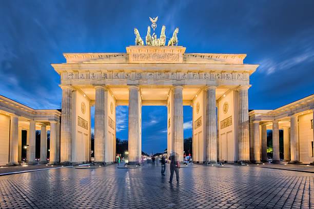 Berlin night, the Brandenburg Gate in Berlin, Germany stock photo