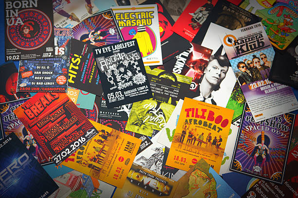 Berlin nightlife and music scene: flyers, leaflets and advertisements stock photo