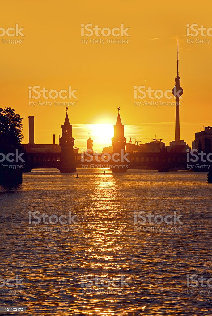 berlin oberbaumbruecke sunset royalty-free stock photo
