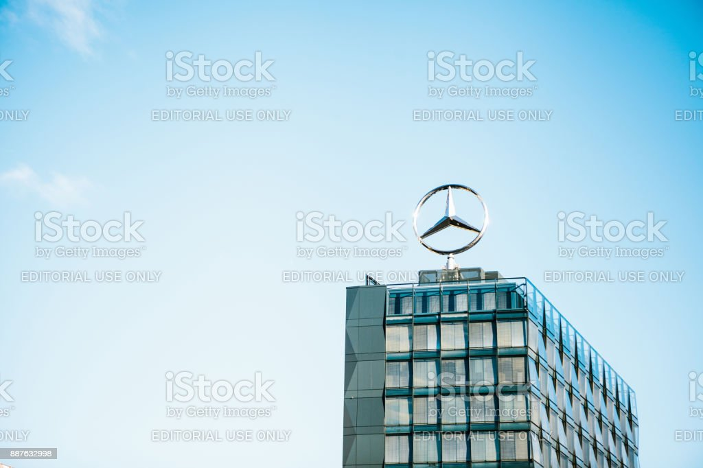 Berlin October 03 2017 The Symbol Of Mercedes Benz On The Roof Of