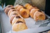 Berliner Pfannkuchen, German Donuts with chotolate cream