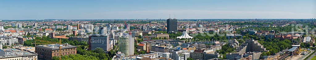 Berlin panorama cityscape leafy avenues office towers homes summer Germany royalty-free stock photo