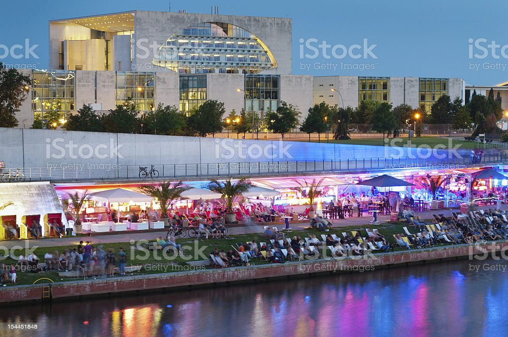 Berlin Party Strand Bar Chancellery stock photo