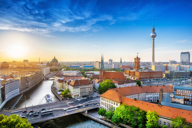 Berlin panoramic view at central berlin while sunset berlin stock pictures, royalty-free photos & images