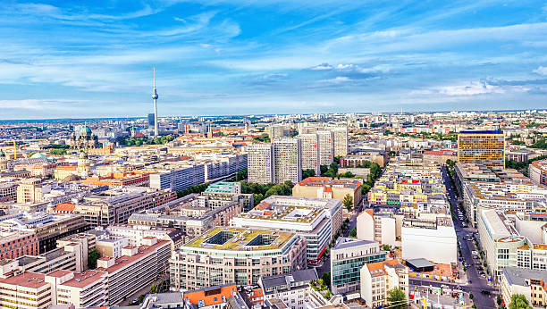 Berlin Aerial panoramic view over Berlin. gendarmenmarkt stock pictures, royalty-free photos & images