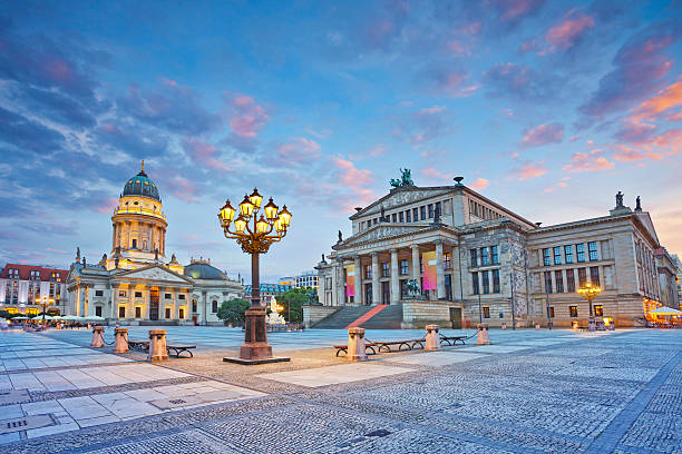 Berlin. Image of Gendarmenmarkt Square during summer sunset. gendarmenmarkt stock pictures, royalty-free photos & images