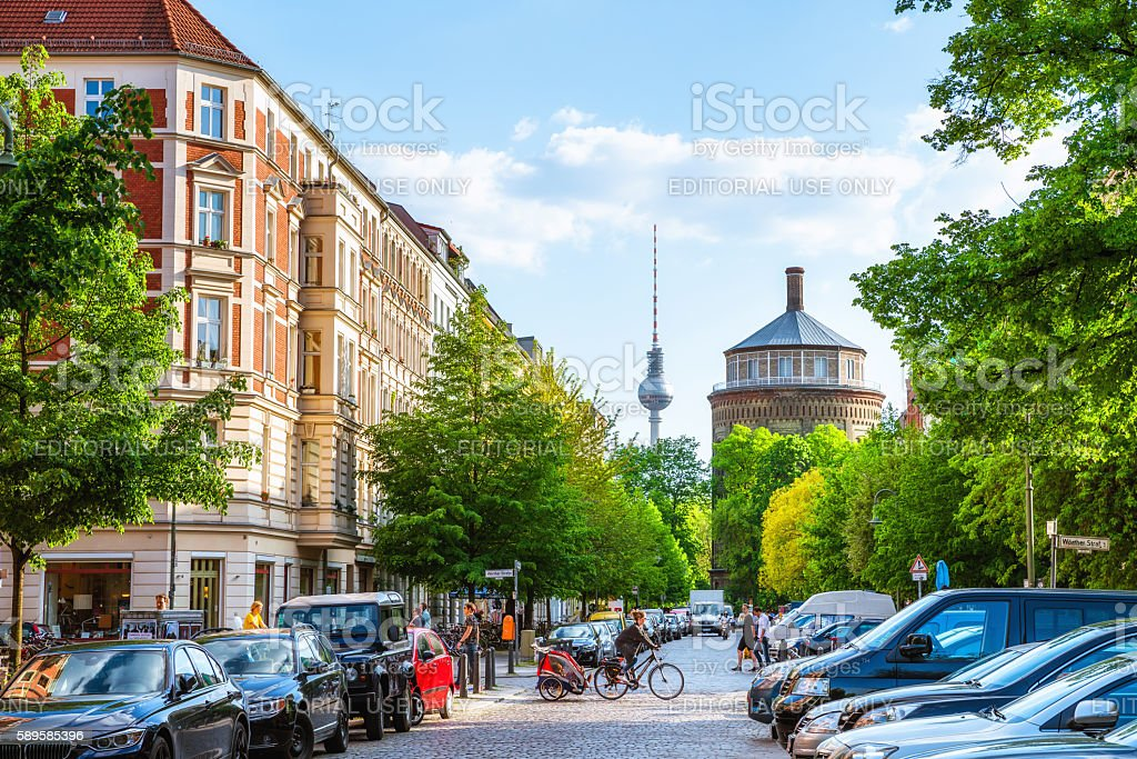 Berlin Prenzlauer Berg with TV Tower stock photo