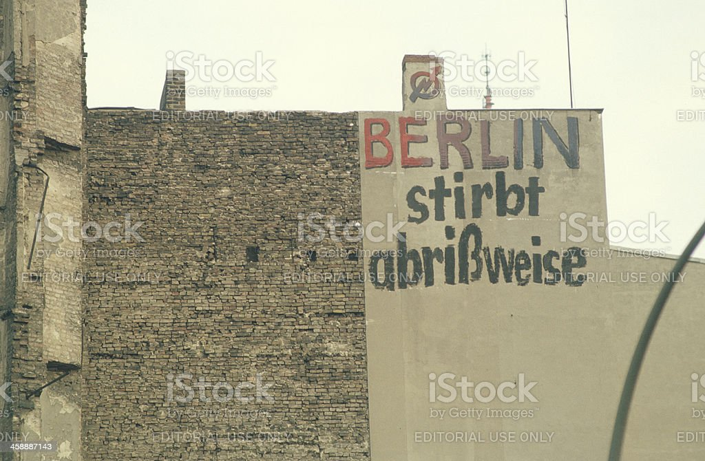 Berlin protest of home occupations in the 80ies royalty-free stock photo