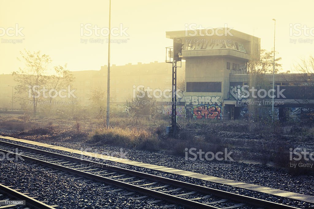 Berlin railroad tracks urban autumn morning stock photo