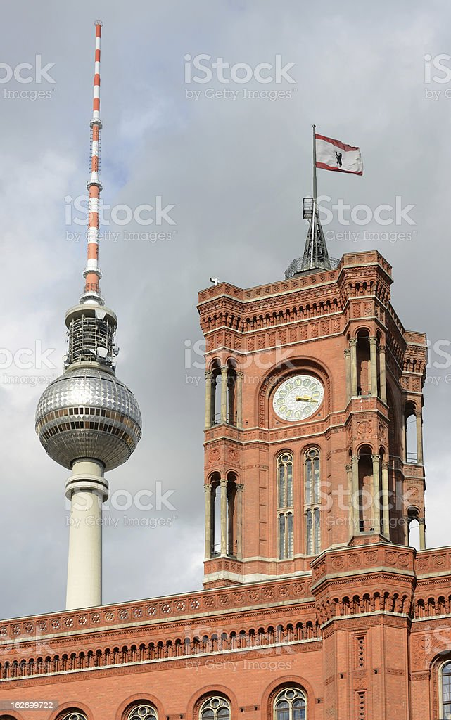 Berlin Rathaus and TV tower stock photo