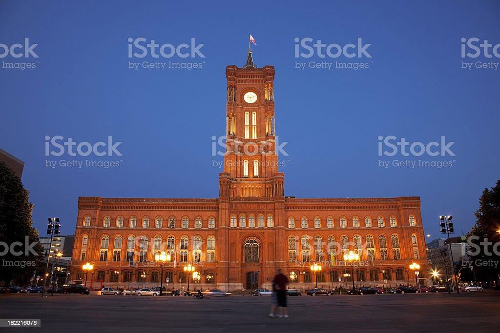 Berlin Rathaus at night stock photo