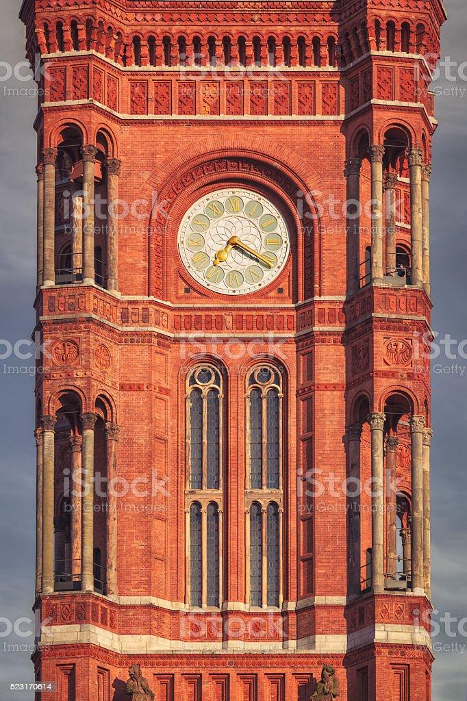 Berlin Rathaus clock tower stock photo